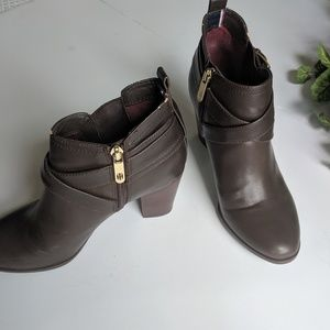 Tommy Hilfiger Brown Leather| Heeled Ankle Boot